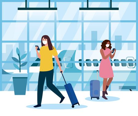 women wearing medical protection mask in airport terminal, traveling by airplane during coronavirus pandemic, prevention covid 19 vector illustration design