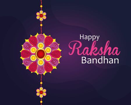 greeting card with decorative rakhi for raksha bandhan, indian festival for brother and sister bonding celebration, the binding relationship vector illustration design