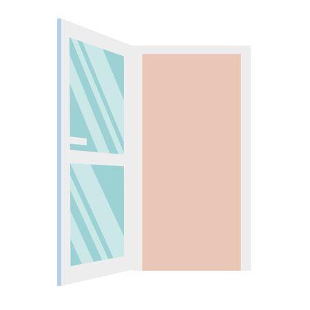 door icon, on white background, open door symbol vector illustration design