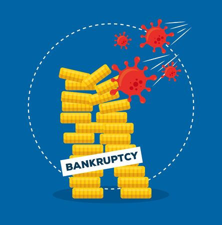 coins towers design of bankruptcy and covid 19 virus theme Vector illustration