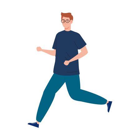 man jogging, sport competition vector illustration design