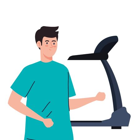 sport, man with treadmill, sport person with electrical training machine vector illustration design Ilustração Vetorial