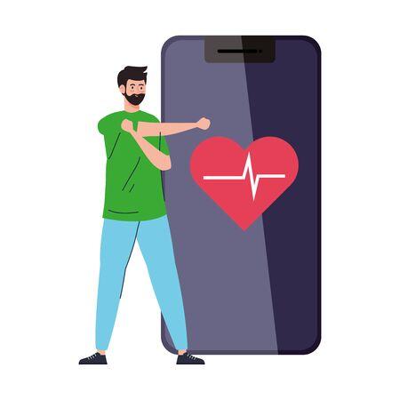 fitness, training and workout app, man practicing sport in smartphone, sport online vector illustration design