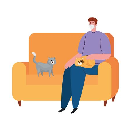 man wearing protective medical mask against covid 19, sitting in sofa with cats, stay at home concept vector illustration design Illusztráció