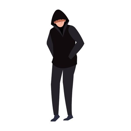 hacker with black clothes on white background vector illustration design Foto de archivo - 150119170