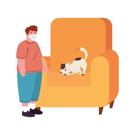 boy wearing medical mask for prevention covid 19 with cat in couch vector illustration design