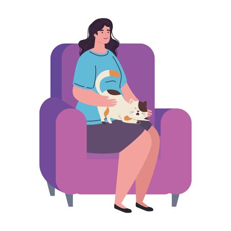 young woman sitting in couch with cat mascot on white background vector illustration design Illusztráció