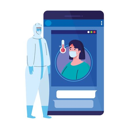 smartphone, woman wearing medical mask, app prevention coronavirus covid 19, person in viral protective suit vector illustration design