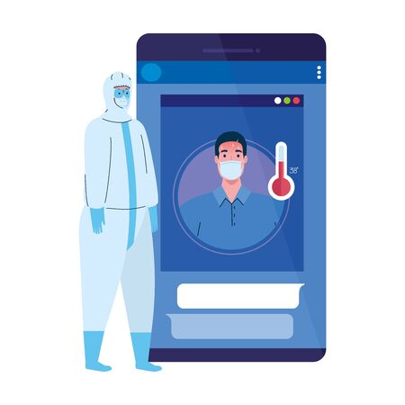 smartphone, man wearing medical mask, app prevention coronavirus covid 19, person in viral protective suit vector illustration design