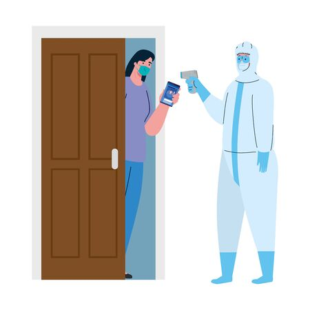disinfection, person in viral protective suit, with digital non contact infrared thermometer, woman check temperature vector illustration design