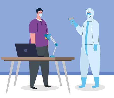 disinfection, person in viral protective suit, with digital non contact infrared thermometer and man in temperature check in office vector illustration design Vectores