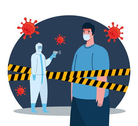disinfection, person in viral protective suit, with digital non contact infrared thermometer and man in temperature check vector illustration design