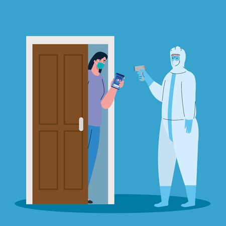 disinfection, person in viral protective suit, with digital non contact infrared thermometer, woman check temperature in the house vector illustration design
