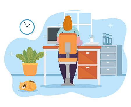 stay home work home, woman protect yourself working at home, stay home on quarantine during the coronavirus vector illustration design