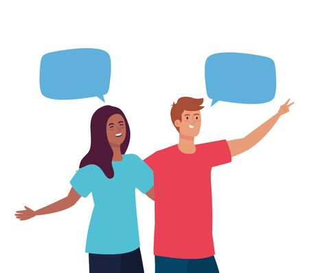 happy couple talking with speech bubbles, celebrating holiday vector illustration design