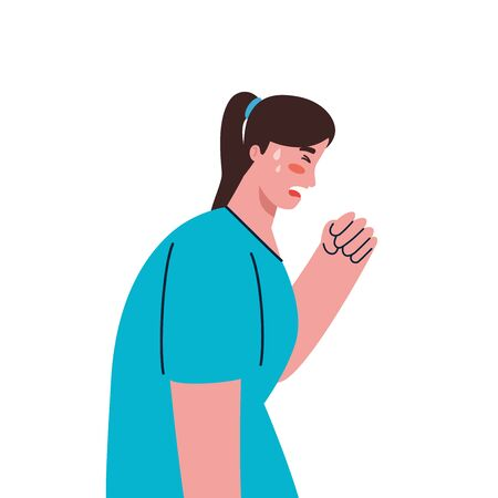 sick woman, unhappy, woman coughing in hand vector illustration design