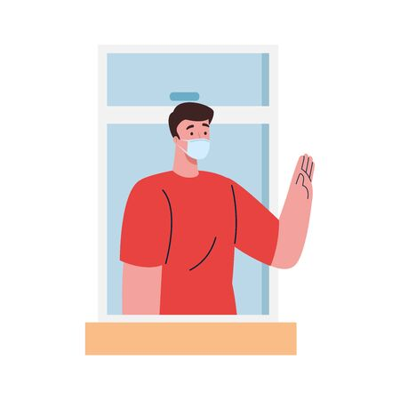 stay home,window, man wearing medical mask, look out of home, self isolation, social distancing, keep distance, quarantine due of coronavirus, covid 19 illustration design