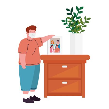 boy wearing medical mask for prevention covid 19 with wooden drawer, and photo family vector illustration design Ilustracja