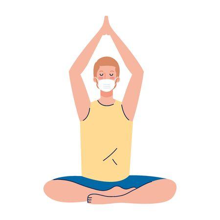 man meditating wearing medical mask against covid 19, concept for yoga, meditation, relax, healthy lifestyle vector illustration design