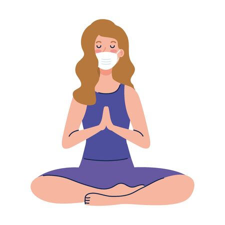 woman meditating wearing medical mask against covid 19, concept for yoga, meditation, relax, healthy lifestyle vector illustration design