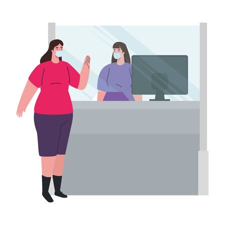 social distancing, keep distance, female worker in attending of woman, protect from coronavirus covid 19 vector illustration design 向量圖像