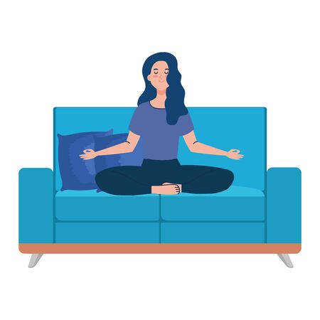 woman meditating sitting in couch, concept for yoga, meditation, relax, healthy lifestyle vector illustration design