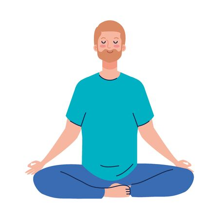 man meditating, concept for yoga, meditation, relax, healthy lifestyle vector illustration design