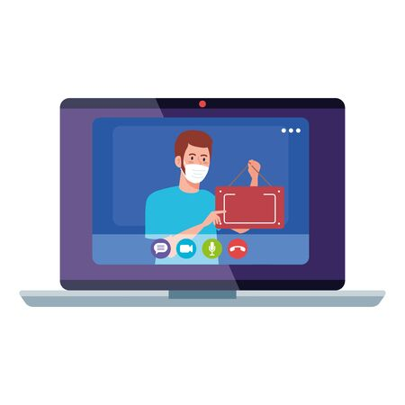 shopping online on website or mobile, man wearing medical mask against covid 19 with sign hanging in laptop vector illustration design