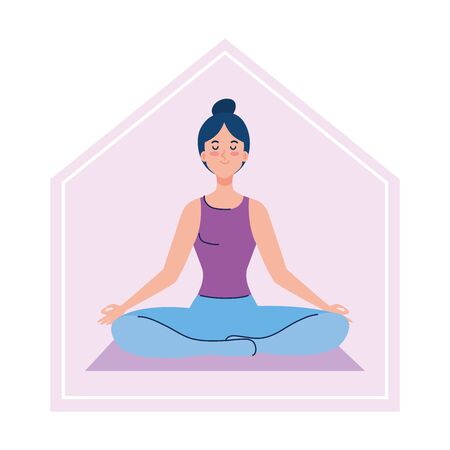 stay at home, woman meditating, concept for yoga, meditation, relax, healthy lifestyle vector illustration design