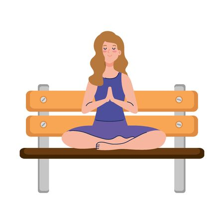woman meditating sitting in park wooden chair, concept for yoga, meditation, relax, healthy lifestyle vector illustration design