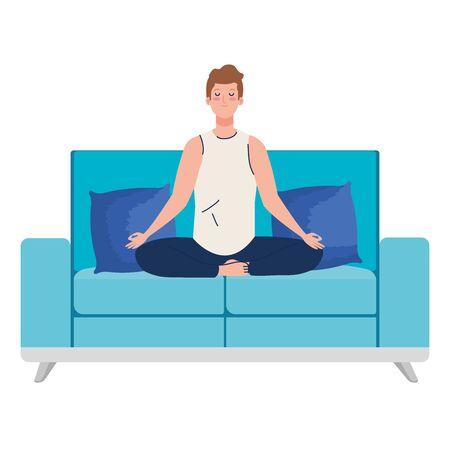 man meditating sitting in couch, concept for yoga, meditation, relax, healthy lifestyle vector illustration design Illusztráció
