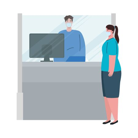 social distancing, keep distance, man worker in attending of woman, protect from coronavirus covid 19 vector illustration design