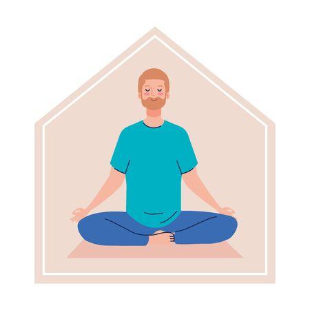 stay at home, man meditating, concept for yoga, meditation, relax, healthy lifestyle vector illustration design Illusztráció