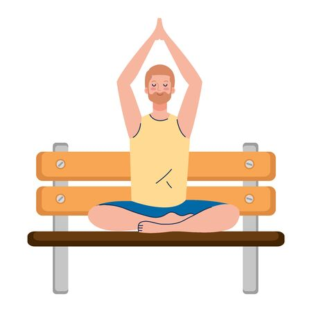 man meditating sitting in park wooden chair , concept for yoga, meditation, relax, healthy lifestyle vector illustration design