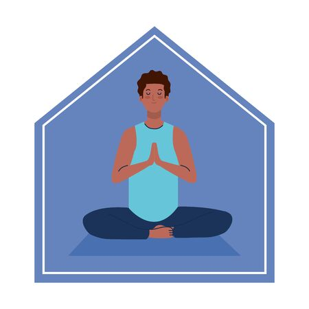 stay at home, man afro meditating, concept for yoga, meditation, relax, healthy lifestyle vector illustration design