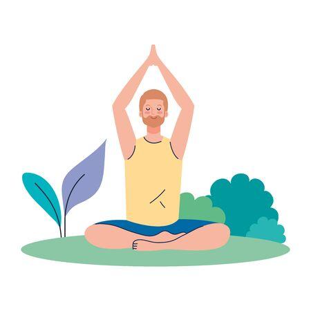 man meditating, concept for yoga, meditation, relax, healthy lifestyle in landscape vector illustration design