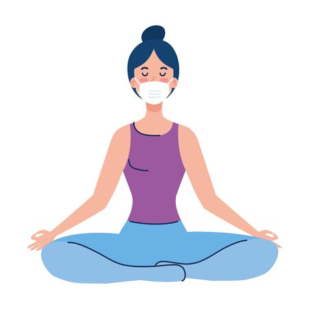 woman meditating wearing medical mask against covid 19, concept for yoga, meditation, relax, healthy lifestyle vector illustration design Illusztráció