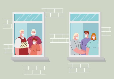 stay home, house facade with window, members family look out of home, self isolation, quarantine due of coronavirus, covid 19 vector illustration design
