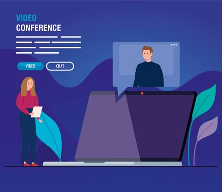 couple in video conference for laptop vector illustration design 일러스트