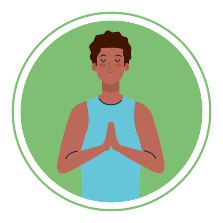 man afro with eyes closed, meditation, healthy lifestyle Illusztráció