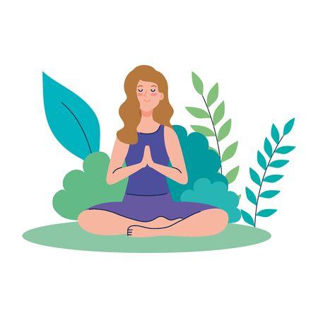 woman meditating, concept for yoga, meditation, relax, healthy lifestyle in landscape vector illustration design Illusztráció