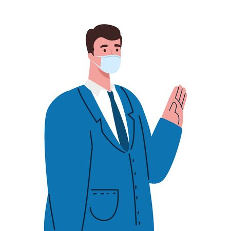 businessman wearing surgical mask, health care and prevention concept vector illustration design