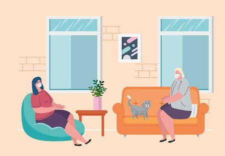 stay home, women wearing medical mask, quarantine or self isolation vector illustration design Illusztráció