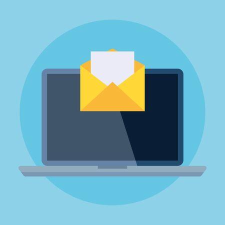 laptop computer device with envelope mail communication vector illustration design 일러스트