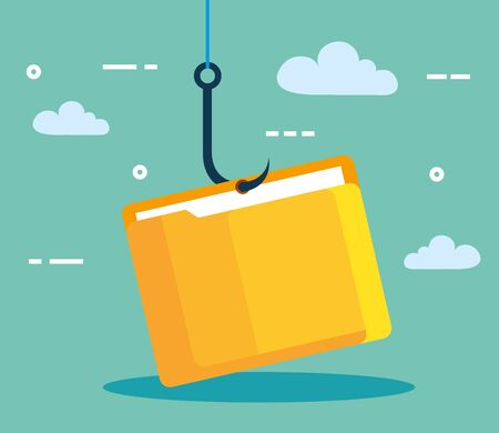 data phishing hacking online scam concept, with file document hook vector illustration design