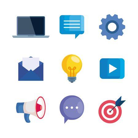 digital online marketing, business social media marketing, icons collection vector illustration design 일러스트