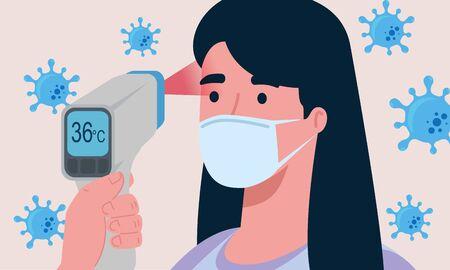 covid 19 coronavirus, hand holding infrared thermometer to measure body temperature, woman check temperature vector illustration design