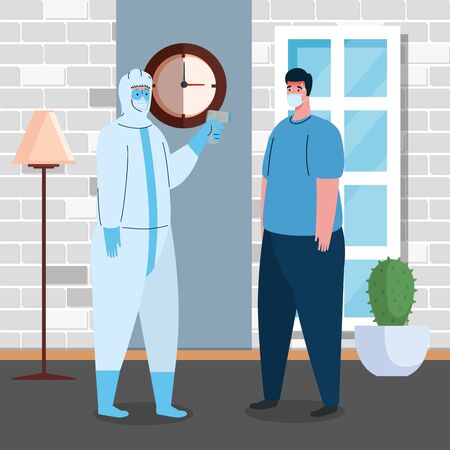 disinfection, person in viral protective suit, with digital non contact infrared thermometer,man check temperature in the house vector illustration design Vectores