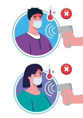 covid 19 coronavirus, hands holding infrared thermometer to measure body temperature, couple check temperature vector illustration design Illusztráció