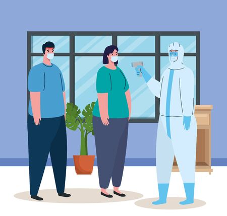 disinfection, person in viral protective suit, with digital non contact infrared thermometer, couple in check temperature in the house vector illustration design